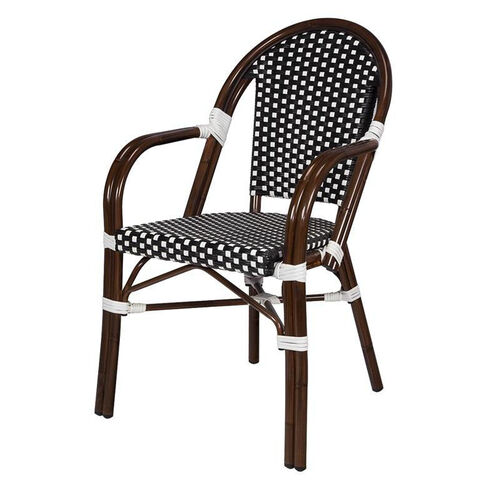 Our Paris Indoor/Outdoor Stackable Arm Chair with Dark Bamboo Aluminum Frame - Black and White is on sale now.