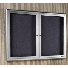 Classic Series Bulletin Board Cabinet with 2 Tempered Glass Locking Doors - 72