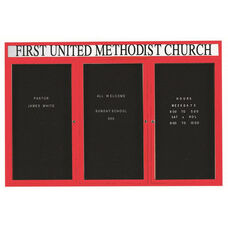 3 Door Indoor Illuminated Enclosed Directory Board with Header and Red Anodized Aluminum Frame - 48