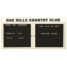 2 Door Outdoor Illuminated Enclosed Directory Board with Header and Ivory Anodized Aluminum Frame - 36