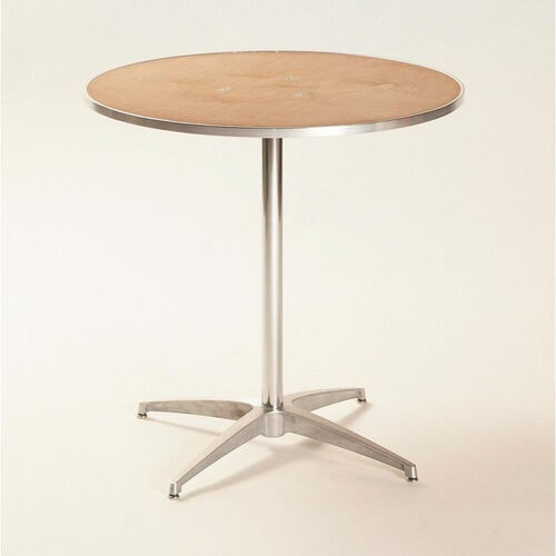 Our Standard Series Round Pedestal Table with Chrome Plated Steel Column and Plywood Top - 24