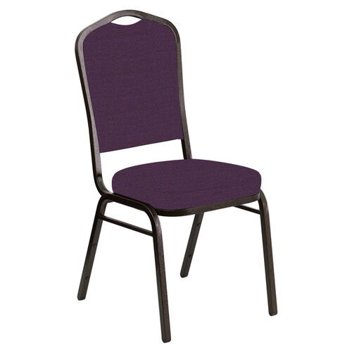 Our Embroidered Crown Back Banquet Chair in Phoenix Passion Fabric - Gold Vein Frame is on sale now.