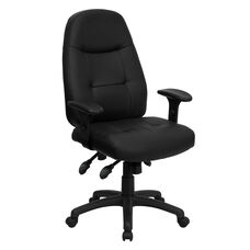 High Back Black Leather Multifunction Executive Swivel Chair with Adjustable Arms
