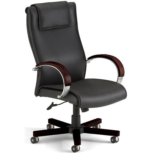 Our Apex Leather Executive High-Back Chair with Mahogany Finish - Black is on sale now.