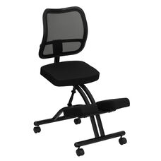 Mobile Ergonomic Kneeling Office Chair with Black Mesh Back