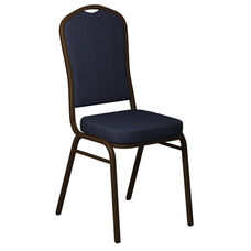 Embroidered Crown Back Banquet Chair in Shire Titan Blue Fabric - Gold Vein Frame