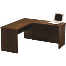 Prestige + L-Shaped Workstation with Scratch and Stain Resistant Finish - Chocolate