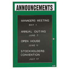 1 Door Outdoor Enclosed Directory Board with Header and Green Anodized Aluminum Frame - 48