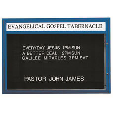Single Sided Illuminated Community Board with Header and Blue Powder Coat Finish - 42