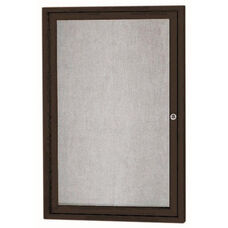 1 Door Outdoor Illuminated Enclosed Bulletin Board with Black Powder Coated Aluminum Frame - 36