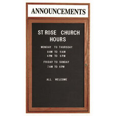 1 Door Enclosed Changeable Letter Board with Header and Walnut Finish - 48