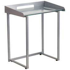 Contemporary Desk with Clear Tempered Glass and Silver Frame