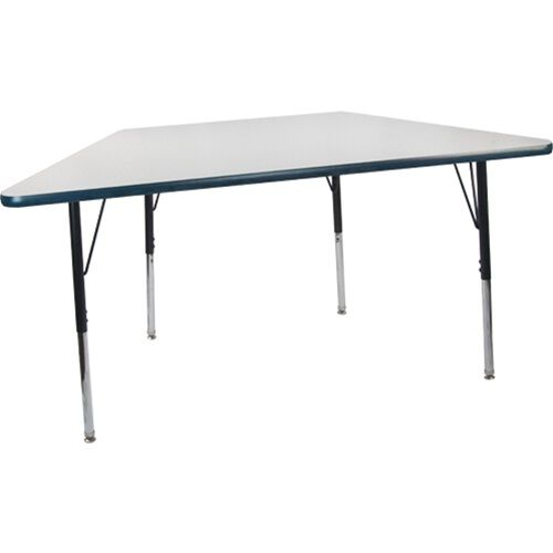 Advantage 30 in. x 60 in. Trapezoidal Adjustable Activity Table - Grey/Navy