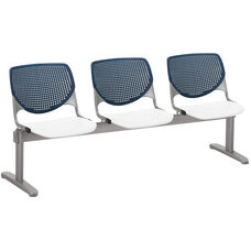 2300 KOOL Series Beam Seating with 3 Poly Navy Perforated Back Seats and White Seats