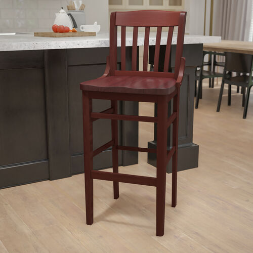 Mahogany Finished School House Back Wooden Restaurant Barstool