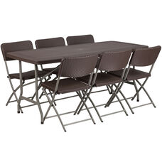 5.62-Foot Brown Rattan Indoor-Outdoor Plastic Folding Table Set with 6 Chairs
