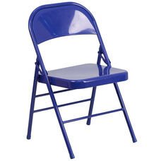 HERCULES COLORBURST Series Cobalt Blue Triple Braced & Double Hinged Metal Folding Chair