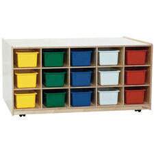 30-Tray Double Sided Tot-Size Mobile Island with Multi-Colored Storage Trays and Easy Mobility Casters - Assembled - 48