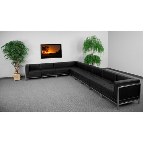 HERCULES Imagination Series Black LeatherSoft Sectional Configuration, 9 Pieces