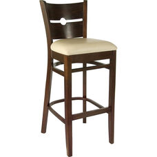 Coin Back Bar Stool in Walnut Wood Finish