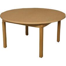 Round High Pressure Laminate Table with Hardwood Legs - 48'' Diameter x 27''H