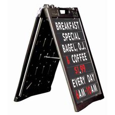 Universal Sidewalk A-Frame Sign Holder with Deluxe Black Changeable Letterboard - Black - 27