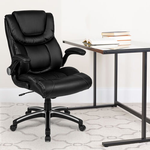 High Back Black LeatherSoft Executive Swivel Office Chair with Double Layered Headrest and Open Arms