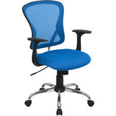 Mid-Back Blue Mesh Swivel Task Office Chair with Chrome Base and Arms