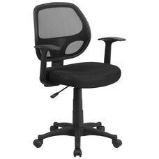 Mid-Back Black Mesh Swivel Task Chair with Arms