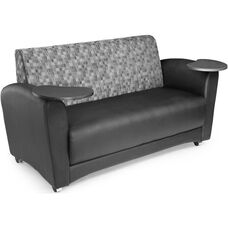 InterPlay Tablet Geometrix Nickel Fabric and Black Sofa - Tungsten Finish