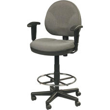 OSS 20''W Height Adjustable Mid Back Task Chair with Foot Ring and Adjustable Arms - Pewter