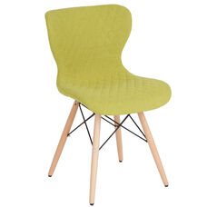 Riverside Contemporary Upholstered Chair with Wooden Legs in Citrus Green Fabric