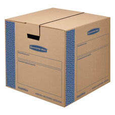 Bankers Box® SmoothMove Prime Medium Moving Boxes - 18l x 18w x 16h - Kraft/Blue - 8/Carton