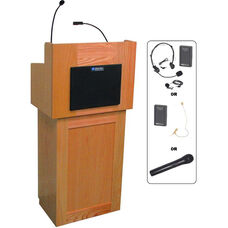Oxford Two Piece Wireless 50 Watt Sound and Hand Held Mic Lectern - Cherry Finish - 22