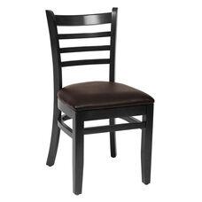 Burlington Black Wood Ladder Back Chair - Vinyl Seat