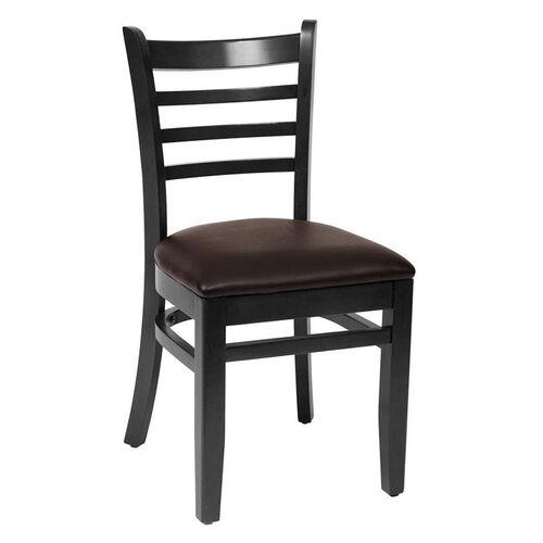 Our Burlington Black Wood Ladder Back Chair - Vinyl Seat is on sale now.