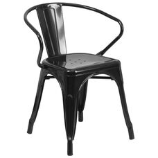 Commercial Grade Black Metal Indoor-Outdoor Chair with Arms