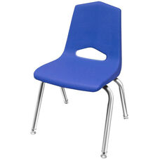MG Series 10''H Stack Chair - Blue Seat and Chrome Frame - 14''W x 14.3''D x 20''H