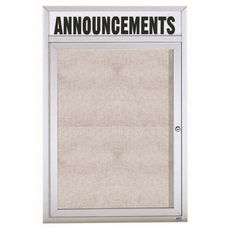 1 Door Outdoor Enclosed Bulletin Board with Header and Aluminum Frame - 48