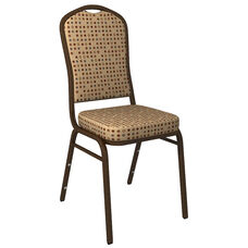 Crown Back Banquet Chair in Culp Fine Tune Wheat Fabric - Gold Vein Frame