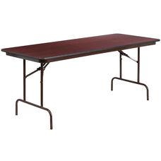 6-Foot Mahogany Melamine Laminate Folding Banquet Table