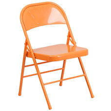 HERCULES COLORBURST Series Orange Marmalade Triple Braced & Double-Hinged Metal Folding Chair