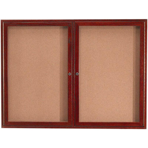 Our 2 Door Enclosed Bulletin Board with Cherry Finish - 36