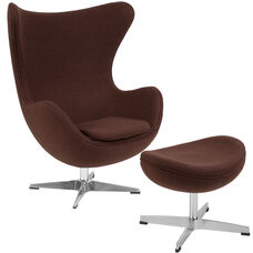 Brown Wool Fabric Egg Chair with Tilt-Lock Mechanism and Ottoman