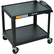 Fixed Height 2 Shelf Mobile Steel A/V Cart - Black - 24