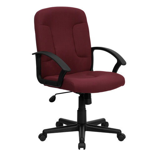 Our Mid-Back Burgundy Fabric Executive Swivel Office Chair with Nylon Arms is on sale now.