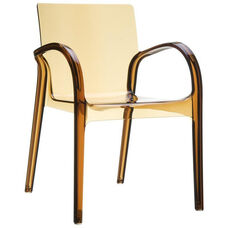 Dejavu Contemporary Polycarbonate See Through Arm Chair - Transparent Amber