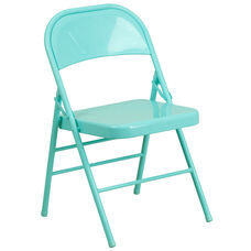 HERCULES COLORBURST Series Tantalizing Teal Triple Braced & Double-Hinged Metal Folding Chair