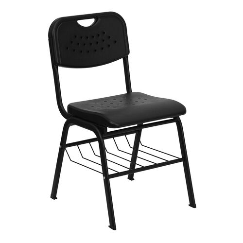 Our HERCULES Series 880 lb. Capacity Black Plastic Chair with Black Frame and Book Basket is on sale now.