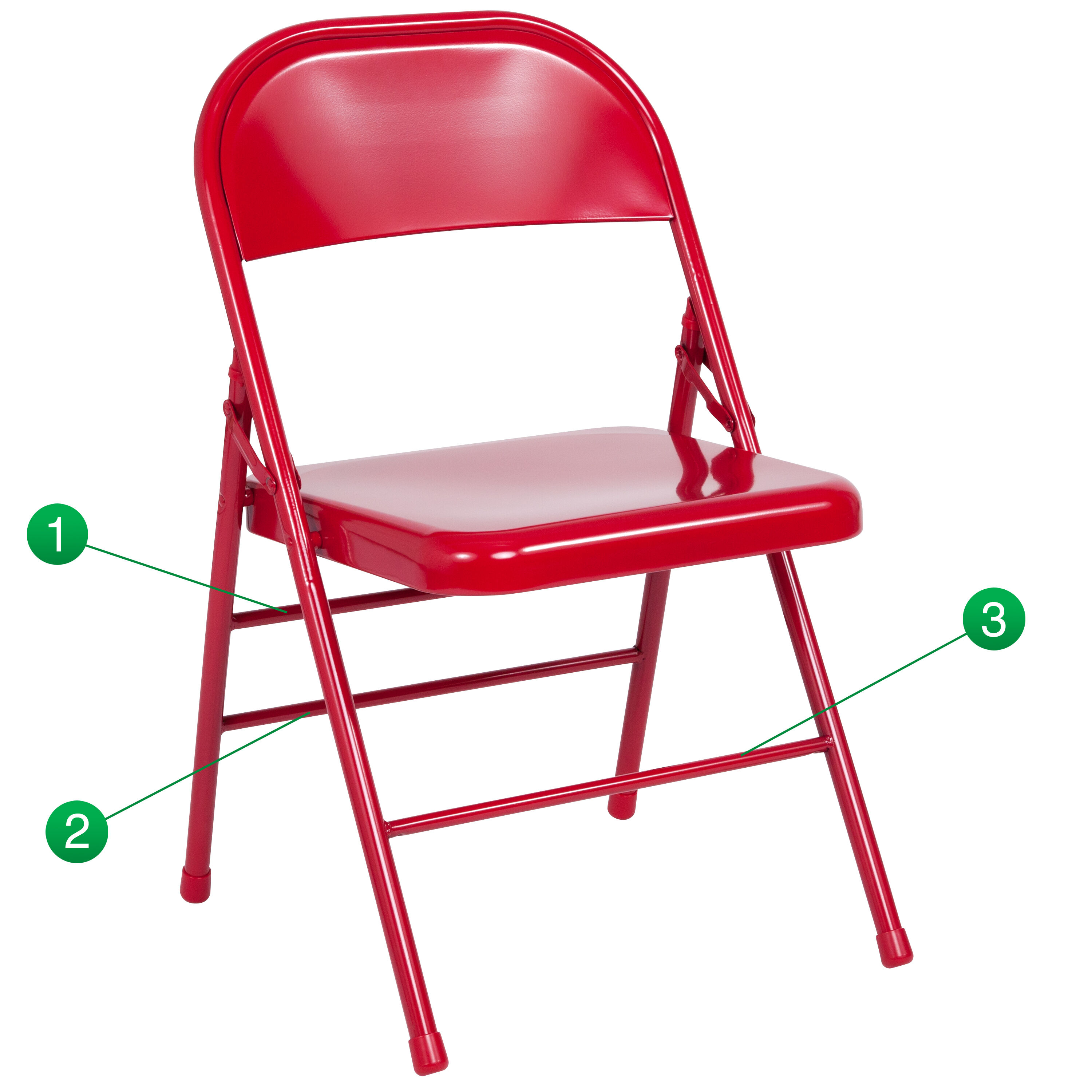HERCULES Series Triple Braced U0026 Double Hinged Red Metal Folding Chair